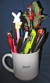 The infamous mug; now a pencil holder.